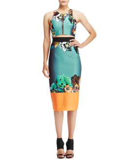 Milly Front-Zip Crop Top & Printed Sateen Pencil Skirt