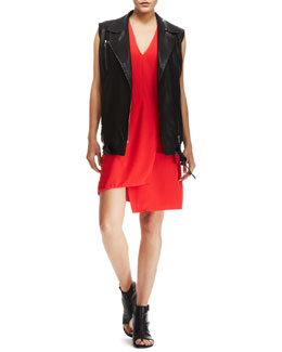 J Brand Ready to Wear Hubbard Long Leather Vest & Mina Uneven Crepe Dress