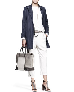 Brunello Cucinelli Tech Snap Jacket, Quilted-Shoulder Top, Tapered Pleated Pants, Metallic Leather Belt & Long Necklace