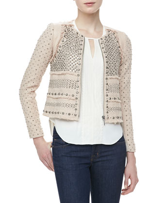 Studded Short Tweed Blazer & Embroidered-Front Georgette Blouse