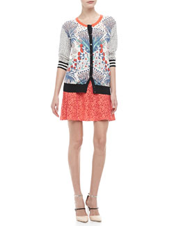 MARC by Marc Jacobs Madeline's Garden Printed Sweater & Luna A-Line Lace Skirt