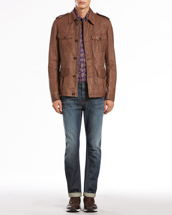 Leather Safari Jacket, Paisley-Print Long-Sleeve Shirt & Stone Washed Skinny Jeans
