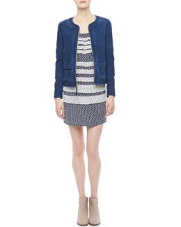 MARC by Marc Jacobs Tashi Twill Front-Zip Jacket & Juna Printed Tiered Dress