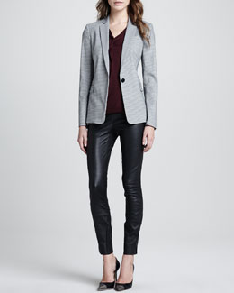 Theory Dancey Mini-Houndstooth Blazer, Parlier Sleeveless Draped Blouse & Belisa Danish Leather Pants
