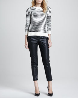 Theory Innis B Striped Knit Sweater & Redell Side-Zip Leather Pants