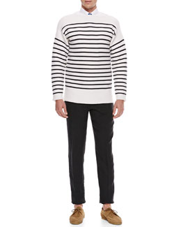 Burberry Prorsum Striped Cashmere-Blend Sweater, Pleat-Front Cotton Shirt & Dot-Print Cotton Tie