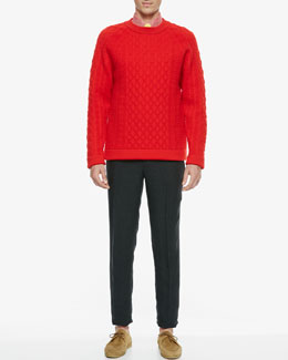 Burberry Prorsum Micro-Dot Sport Shirt, Quilted Crew Neck Sweater, Narrow Linen Trousers & Skinny Tie