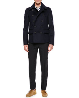 Burberry Prorsum Cashmere Pea Coat, Polka-Dot Cotton Shirt & Narrow Linen Trousers