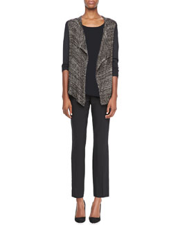 Elie Tahari Zareen Open-Front Sweater, Rhonda Knit Short-Sleeve Top & Juliette Long Pants