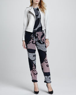 Theory Katiana Leather Zip Jacket & Hendrina Printed Silk Jumpsuit