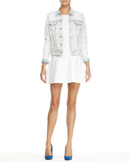 Theory Tim Chastain Denim Jacket and Mollia Enchanted Knit Dress