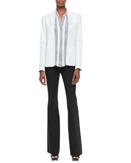 Theory Kacela Open Leather Jacket, Aquilina B Compile Blouse & Fiola Boot-Cut Trousers