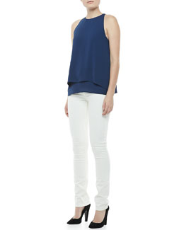 Theory Lyalka Double-Georgette Top & Billy Construction Skinny Jeans