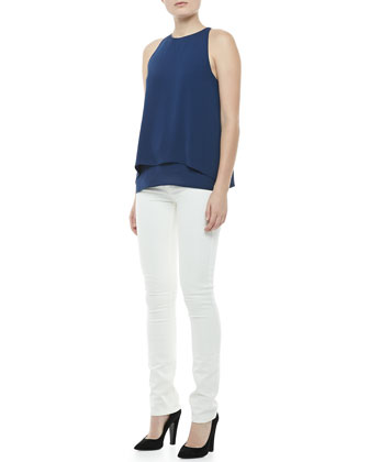 Lyalka Double-Georgette Top & Billy Construction Skinny Jeans