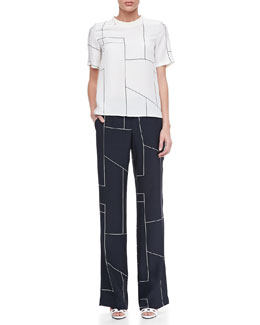 Theory Klima Geometric-Print Silk Top & Fiola Boot-Cut Trousers