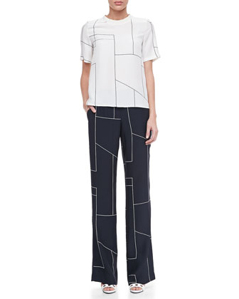 Klima Geometric-Print Silk Top & Fiola Boot-Cut Trousers