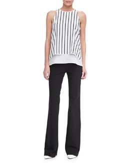 Theory Lyalka C Linear Twine Sleeveless Top & Fiola Boot-Cut Trousers