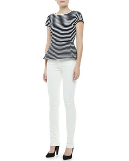 Theory Panna Bimini Striped Peplum Top & Billy Construction Skinny Jeans