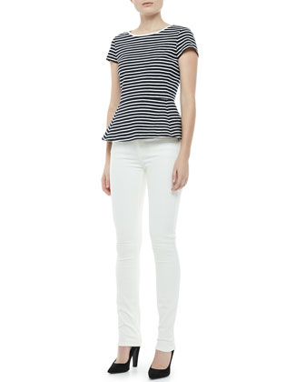 Panna Bimini Striped Peplum Top & Billy Construction Skinny Jeans
