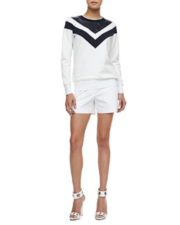 Theory Damiel Pryor Long Sleeve Top & Lynie Checklist Shorts, White