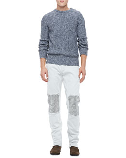 Belstaff Crewneck Sweater & Denim Biker Jeans