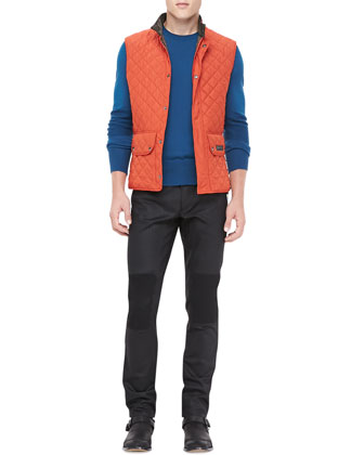 Quilted Lightweight Vest & Resin-Coated Biker Jeans