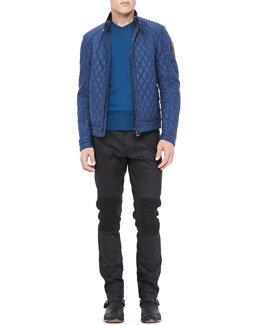 Belstaff Quilted Racer Jacket & Resin-Coated Biker Jeans