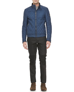 Belstaff Brambley Quilted Racer Jacket & Resin-Coated Biker Jeans