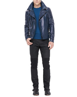 Belstaff Leather Biker Jacket, Crewneck Sweater with Ribbed Detail & Resin-Coated Biker Jeans