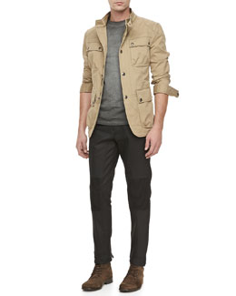 Belstaff Atworth Safari Jacket, Resin-Coated Biker Jeans & Ketley Jersey Short-Sleeve T-Shirt