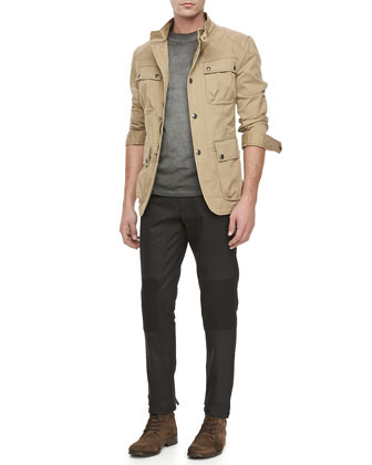 Atworth Safari Jacket, Resin-Coated Biker Jeans & Ketley Jersey Short-Sleeve T-Shirt