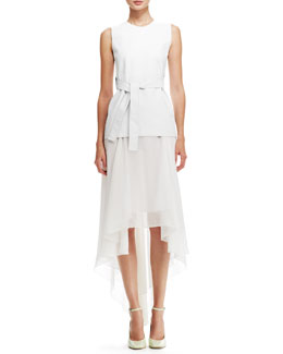 Reed Krakoff Belted Leather Sleeveless Blouse & High-Low Chintz Chiffon Skirt