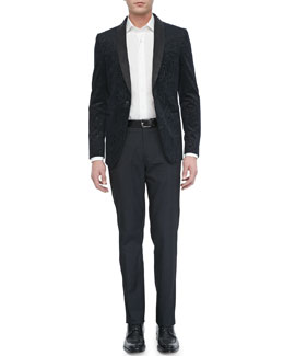 Etro Paisley-Jacquard Evening Jacket, Tonal-Jacquard Sport Shirt & Tonal-Box Evening Pants