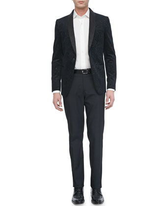 Paisley-Jacquard Evening Jacket, Tonal-Jacquard Sport Shirt & Tonal-Box Evening Pants