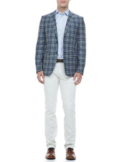 Etro Large Paisley Sport Shirt, Blue and Green Plaid Blazer & Five-Pocket Stretch Denim Jeans