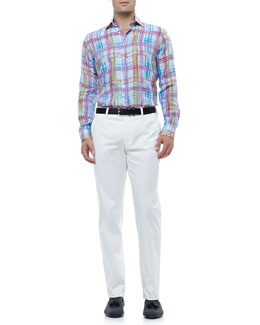 Etro Gingham Linen Shirt with Multicolored Plaid  & Flat-Front Pants