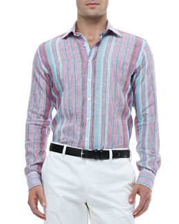 Etro Multi-Striped Linen Shirt & Flat-Front Pants