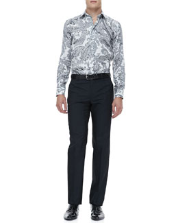Etro Paisley Sport Shirt & Tonal-Box Evening Pants