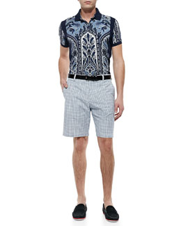 Etro Paisley-Print Polo & Small-Plaid Shorts