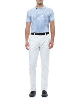 Etro Paisley Striped Polo Shirt & Flat-Front Pants
