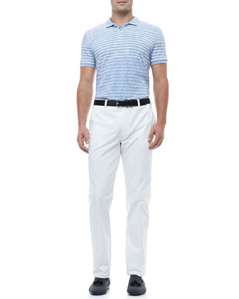 Paisley Striped Polo Shirt & Flat-Front Pants