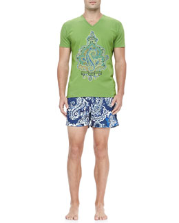 Etro Paisley Graphic Tee & Paisley Print Swim Trunks