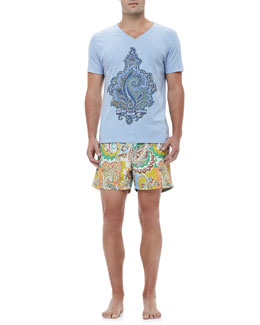 Etro Paisley Graphic Tee & Paisley Swim Trunks