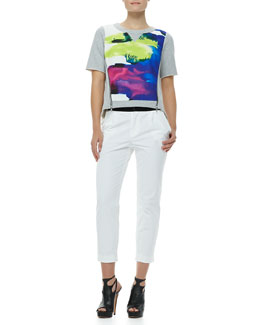 Milly Angular Surf-Print Zipper Tee & Layney Cropped Trousers