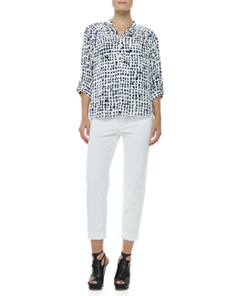 Milly Katalina Pixel-Print Blouse & Layney Cropped Trousers