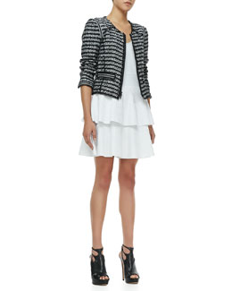 Milly Front-Zip Tweed Jacket & Fit-and-Flare Cap-Sleeve Dress