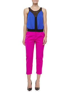 Milly Fly Away Silk Mesh Sleeveless Top & Layney Cropped Trousers