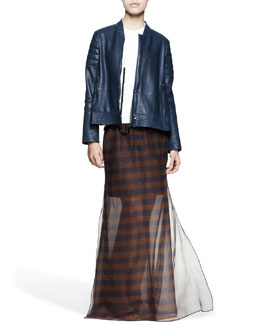 Brunello Cucinelli Leather Swing Biker Jacket, Fitted Sleeveless Cotton Top, Sheer Mixed-Stripe Maxi Skirt, Hand-Painted Knot Fedora & Multi-Stone Long Bead Necklace
