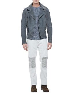 Belstaff Denim Biker Jeans, Crewneck Cotton-Cashmere Sweater & Rutherford Suede Biker Jacket