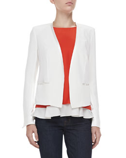 Elizabeth and James Bryant Crepe Open Jacket & Fern Double-Layer Silk Top